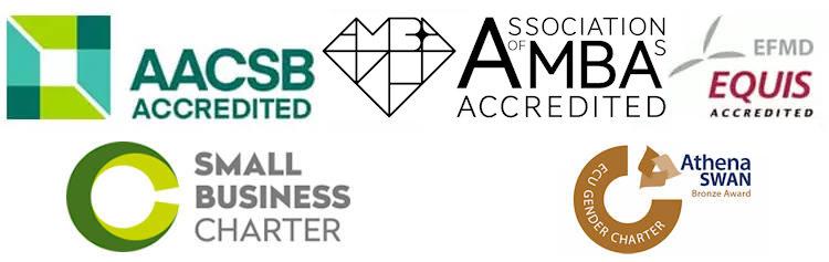AACSB, AMBA and Equis logos