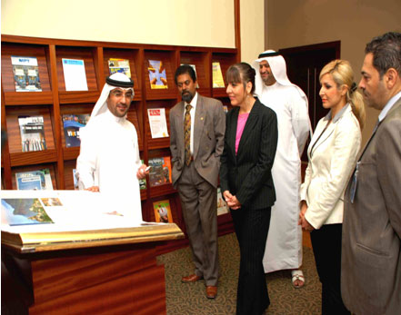 Hussain Mohamed Al Mahmoudi Director General, Sharjah Chamber of Commerce & Industry  with Ranjit Gajendra, Regional Manager, University of Strathclyde Business School,  Alison Devine, Director, British Council Dubai and  officials on a tour of the recently opened Sharjah Chamber of Commerce and Industry